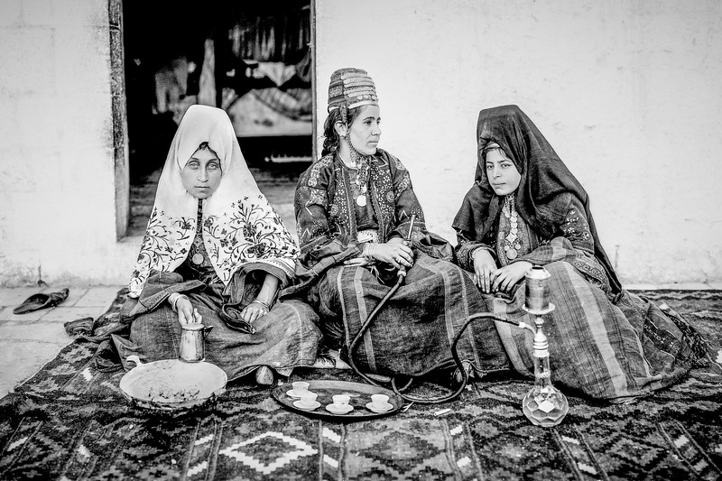Bethlehem women drinking coffee. 1898-1914
