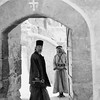 Doorway with monk looking in at Mar Saba, Greek Orthodox monastery. 1934-1939