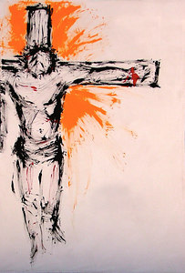"""On My Cross"" This painting was performed live at Faith Quest 2004 and completed in about 10 minutes.  It is 5'6"" tall and 4'2"" wide.  It was auctioned for $975.00 to raise money for Ugandan mission outreach."