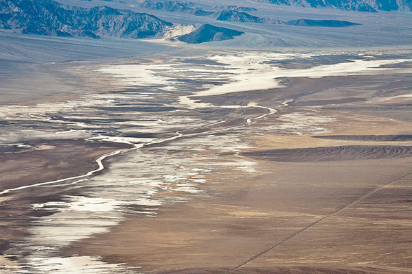 Dante's View #0483  Salt flats and the Amargosa River are main features.  The Amargosa is intermittent, only flowing above ground with sufficient rain.  Otherwise what water there is sinks into an aquifer.