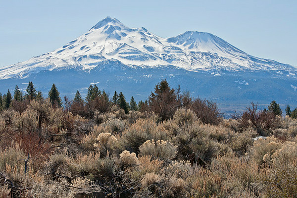 Mt. Shasta Roadside View With Shastina Cone