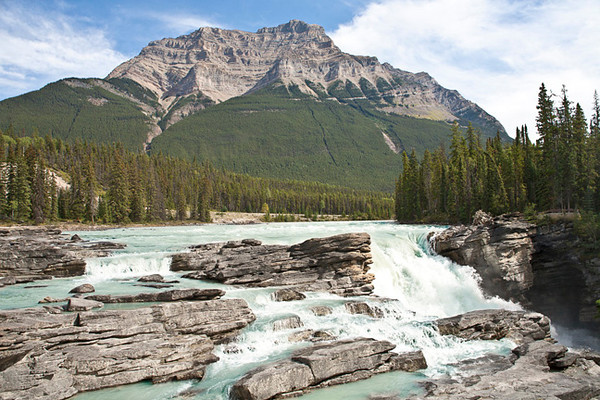Start of Athabasca Falls with Mt. Kerkeslin Beyond