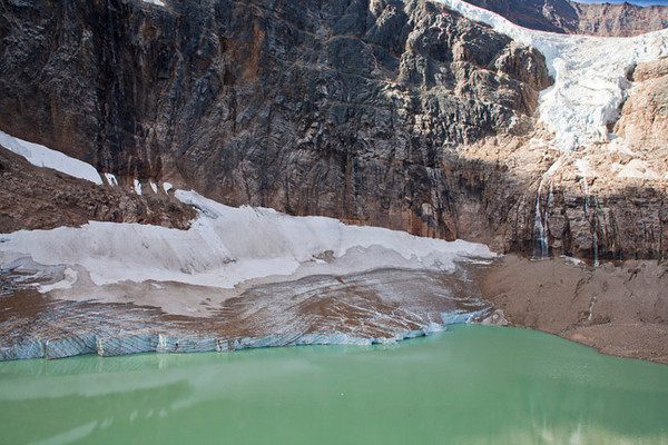 Angel Glacier Melting Into The Lake
