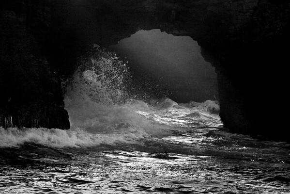Sea Cave Dynamics (B&W version-Mendocino Coast)