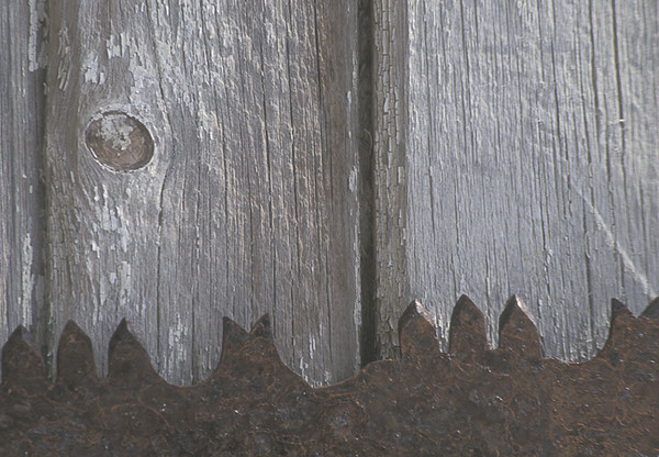 Old Saw Edge On Shed Side