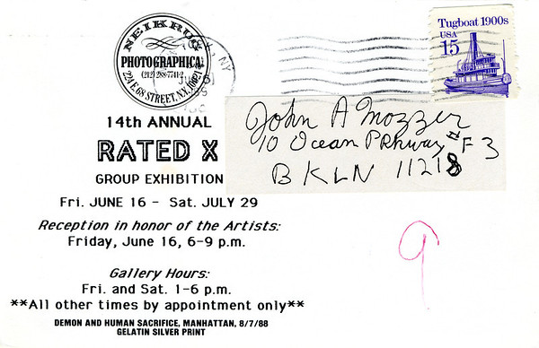 14th Annual Rated X Group Exhibition Reception at Neikrug Photographica Ltd., NYC, 1989 - Invite Side 2