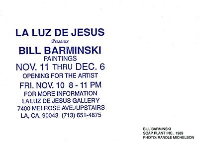 Bill Barminski Paintings Opening at La Luz de Jesus, Los Angeles, 1989 - Invite Side 2