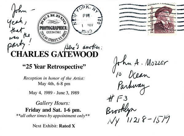 Charles Gatewood 25 Year Retrospective Reception at Neikrug Photographica Ltd., NYC, 1989 - Invite Side 2