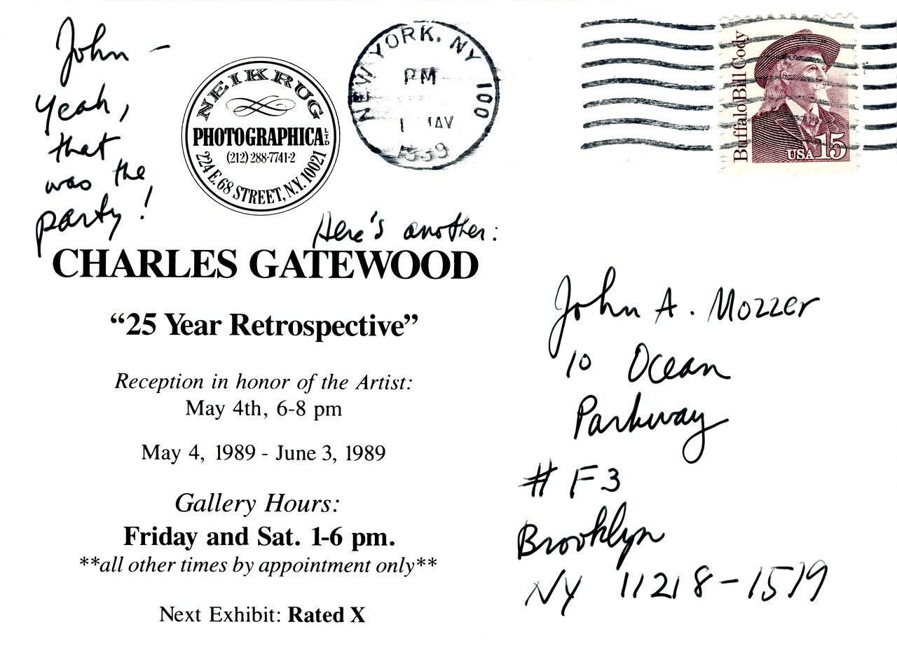 Charles Gatewood 25 Year Retrospective Reception at Neikrug Photographica Ltd., NYC, 1989 - Invite Side 2