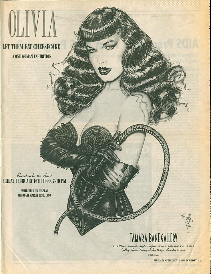 Olivia: Let Them Eat Cheesecake, Los Angeles, 1990 - LA Weekly Ad