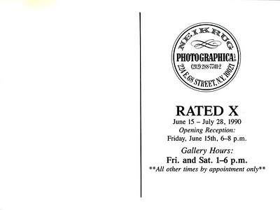 Rated X Opening Reception at Neikrug Photographica Ltd., NYC, 1990 - Invite Side 2