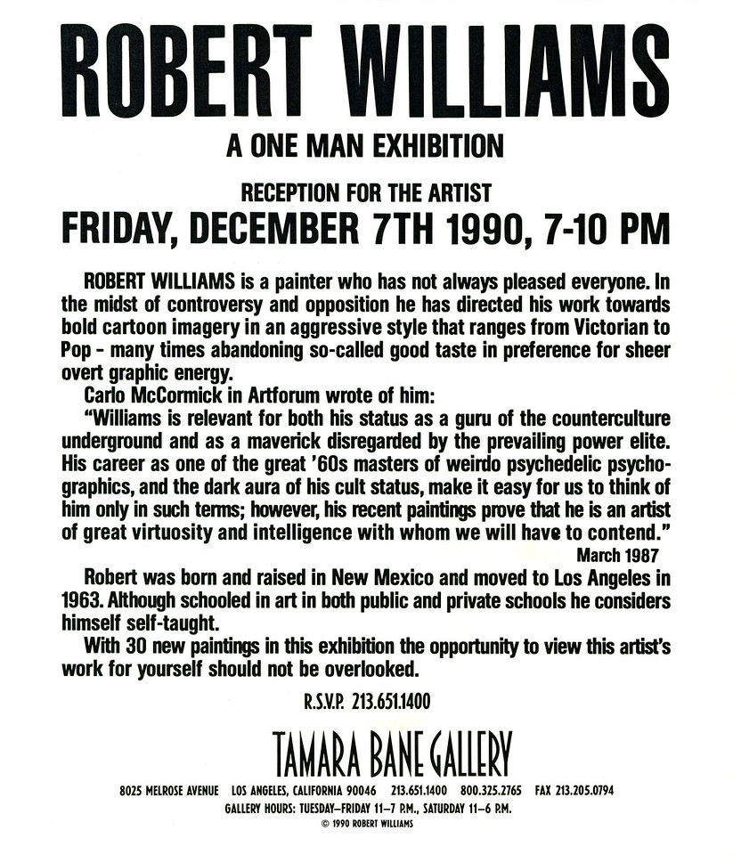 Robert Williams: A One Man Exhibition Reception at Tamara Bane Gallery, Los Angeles, 1990 - Section of 12 Page Foldout