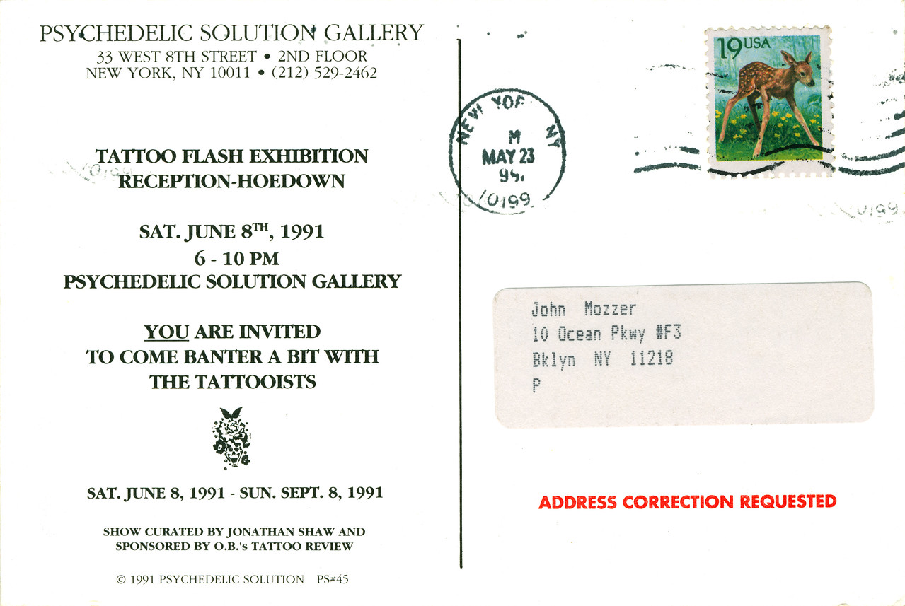 Tattoo Flash Exhibition Reception-Hoedown at Psychedelic Solution, NYC, 1991 - Invite Side 2