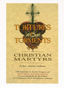 Tortures of Christian Martyrs Opening at La Luz de Jesus, Los Angeles, 1990 - Invite Side 1 featuring art by Sarita Vendetta