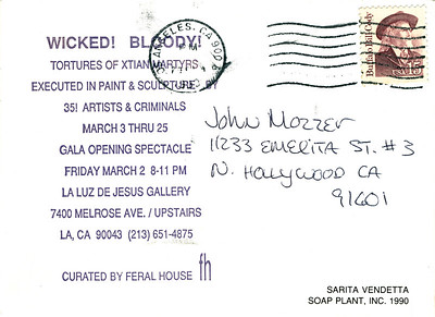 Tortures of Christian Martyrs Opening at La Luz de Jesus, Los Angeles, 1990 - Invite Side 2