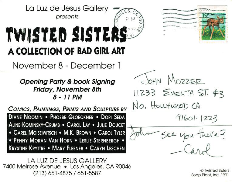Twisted Sisters Opening at La Luz de Jesus, Los Angeles, 1991 - Invite Side 2