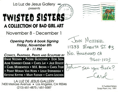 Twisted Sisters Opening at La Luz de Jesus, Los Angeles, 1991 - Invite Side 2