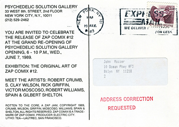 Zap Comix #12 Celebration at Psychedelic Solution, NYC, 1989 - Invite