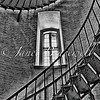 Circular stairs section in St. Augustine Lighthouse– a black-and-white hdr image