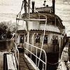 Riverboat at Fredericksburg city dock - a sepia-color infrared image
