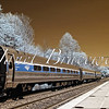 Amtrak train at Stafford Virginia commuter train station - a false-color infrared image