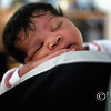 Close-up of African American newborn sleeping – a color image