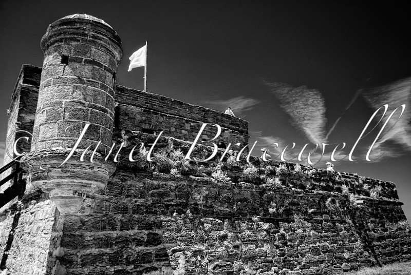 Watchtower of Ft. Matanzas in St. Augustine Florida– a black-and-white infrared image
