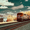 Amtrak train in Fredericksburg railway station - a false-color infrared image