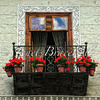 Details of a balcony window in a Canary Island town - a color image
