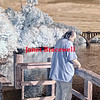 Man fishing at Fredericksburg city dock - a false-color infrared image
