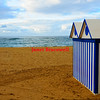 Striped hut at Las Canteras beach in the Canary Islands - a color image