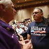 "Bill Wiley, left, from Santa Fe, a Johnson supporter, confronts Michael John, from Santa Fe, about chanting ""lock her up"" before vice-presidential candidate, Mike Pence, addressed a crowd of supporters at Sandia Resort and Casino on Tuesday, August 16, 2016. Wiley felt his chanting ""lock her up"" was rude. Luis Sánchez Saturno/The New Mexican"