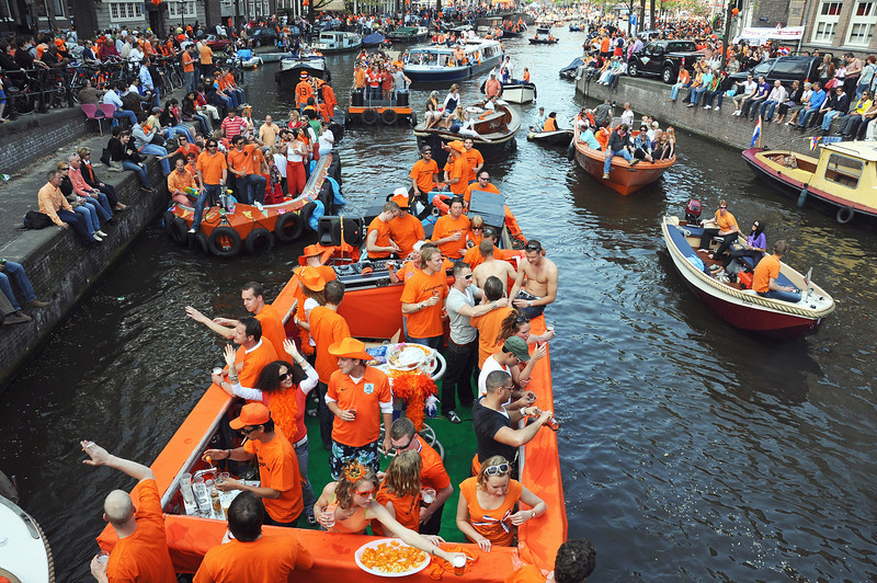 Queen's Day canal party in Amsterdam, The Netherlands