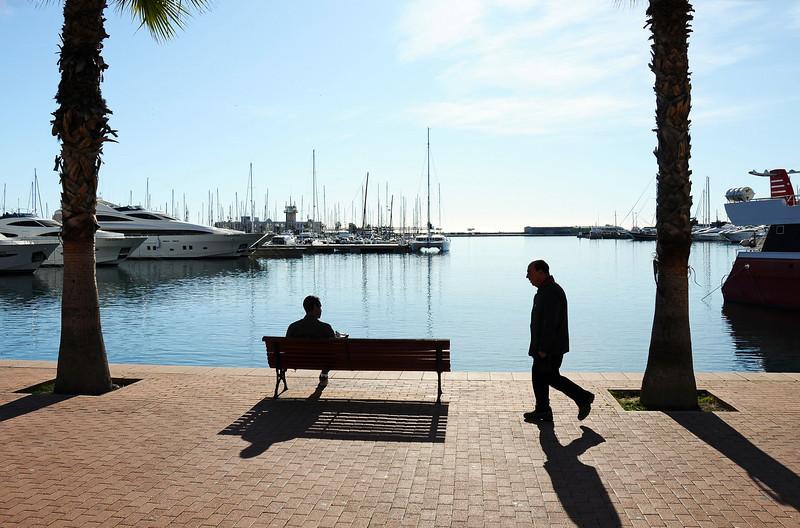 Christmas morning harbor scene, Spain