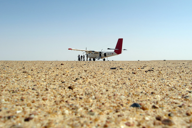 Arrival at desert airstrip in the Rub Al Khali (Empty Quarter), Saudi Arabia