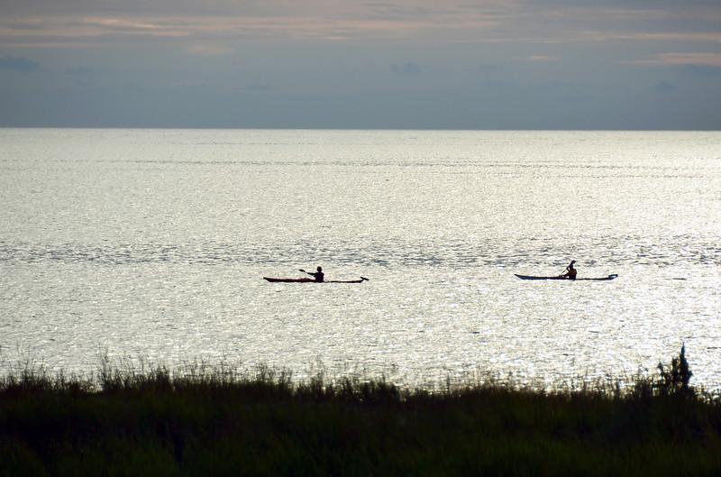 Kayaks along the coast near Seltjarnarnes, Iceland