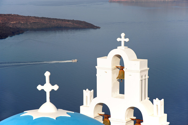 Orthodox church overlooking the Santorini caldera, Greece