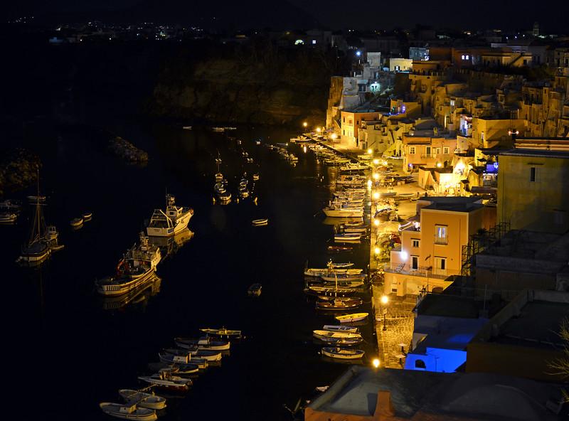 Nighttime at Corricella on Procida, Italy