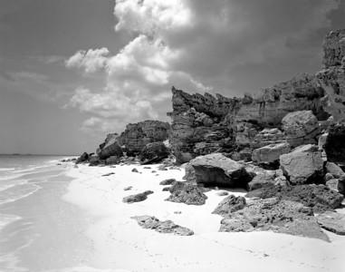 Rocky shoreline, Moriah Harbour Cay, Exuma, Bahamas