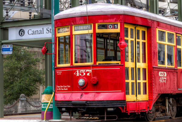 """Riverfront Trolley<br /> I""""m not sure what I like best, the idea of a train with only one car, or just the nostalgic design and colors."""
