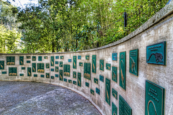 Monkey Memorial<br /> Many museums and zoos run largely from gifts and donations. This wall has plaques that contributors pay  as a way to thank or remember someone that had contributed to the zoo. The larger the plaque, the higher the contribution.