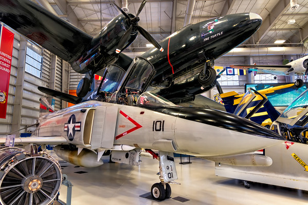 The Phantom and the Turtle<br /> In the corner of Hanger Bay One at the National Naval Aviation Museum are the P2V-1 Neptune, aka the Truculent Turtle and the F-4N Phantom II from the aircraft carrier Midway.