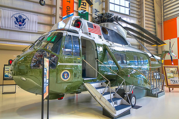Marine One<br /> There are those days in history you live through that you just don't forget. The big ones like when Kennedy was killed, Elvis died or man landed on the moon. Those old enough (sorry) will remember the day Richard Nixon resigned, waving good-bye from the steps of a Marine helicopter, before leaving the White House for the last time.<br /> This Sikorsky VH-3A Sea King served in the Executive Flight Detachment of HMX-1 for Presidents Richard Nixon and Gerald Ford before it was retired. Years later, Sabreliner Inc, the manufacturer, completely restored this piece of history back to pristine condition for the National Naval Aviation Museum.