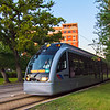 Houston Metrorail<br /> As cool as I think the train is, I have yet to ride one. The are quiet and sleek, fitting right in to the contemporary downtown Houston skyline. While shooting photos close to Herman Park, the train slid by quietly and I barely had time to raise the camera up to grab this shot.