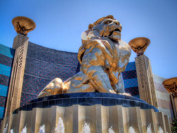 MGM Lion<br /> This large Las Vegas statue is on the street corner, just outside the MGM Grand Hotel and Casino.