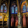 The Lower Chapel of Sainte-Chapelle <br /> The Lower Chapel of Le Sainte-Chapelle (the Holy Chapel) is dedicated to the Virgin Mary and was once reserved for the king's staff. It's a bit more modest than the upper chapel. Since it was originally commissioned by King Louis IX of France, you can find his statue among the art and treasures stored there.