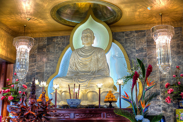 The Many Mundras of Buddha<br /> Dhyana mudra statues show the Buddha with one hand or both in his lap, which symbolizes wisdom. This seems to be the case at the Hoi Thanh Buddhist Temple in southwest Houston.
