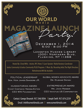 Our World Media Magazine Launch Event and Award Ceremony (12.1.14)