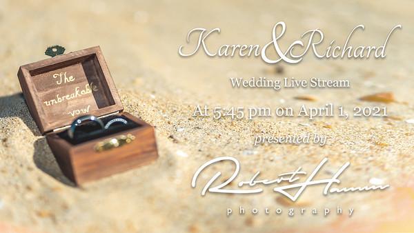RHP Wedding Live Stream Title Card Karen and Richard