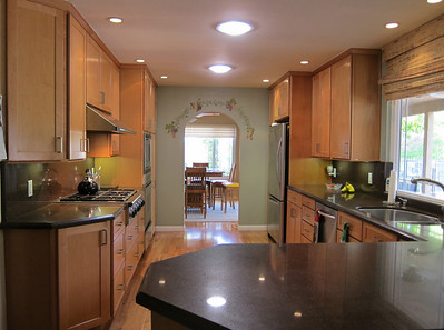 Two skylights and 9 recessed lights in the kitchen.